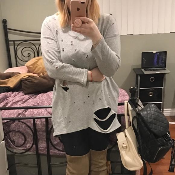 bf7e1720f0e Fashion Nova Dresses   Skirts - Plus size ripped sweater dress - Fashion  Nova